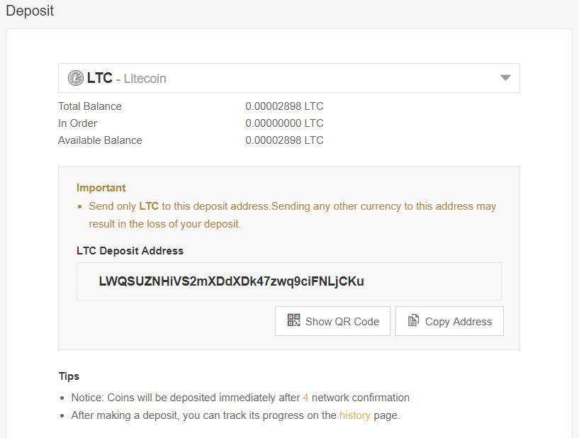 binance deposit litecoin